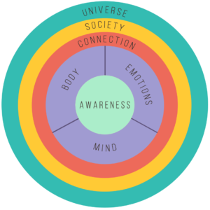 Plenitude Wheel. Picture of a circle divided in rings, The first outer ring says Universe, the next moving towards the center, Society, the next Connection. The next is divided into Body, Emotions, and Mind. The center is Awareness.
